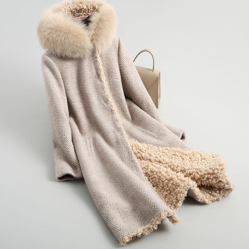 YOLANFAIRY Genuine Fur Coat For Women Warm Thick Sheep Shearing Fox Fur Jackets 2018 Top Quality Plus Size 4XL Outwear MF524