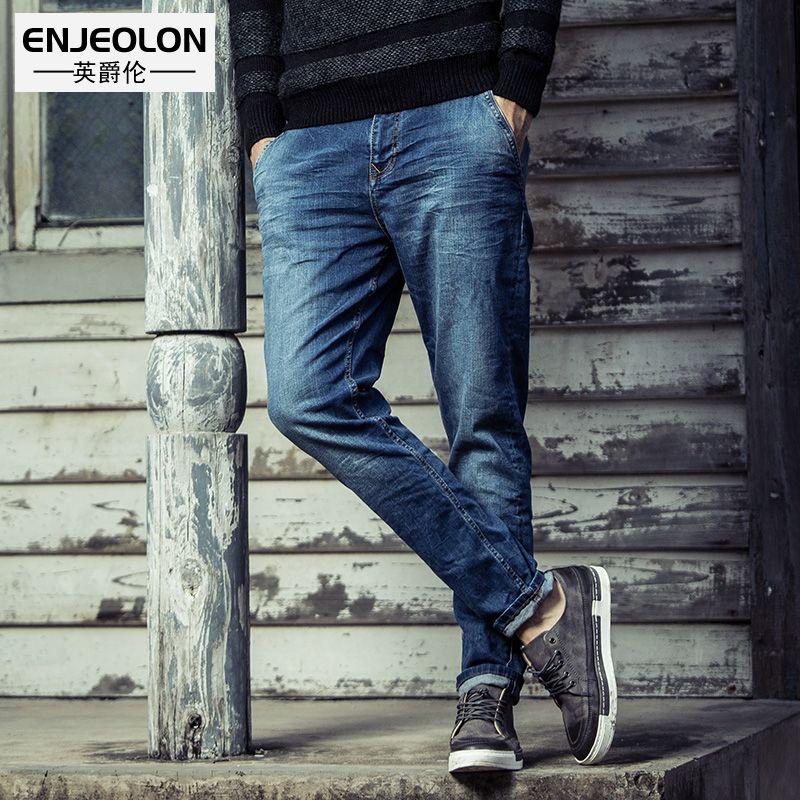 Enjeolon marque 2017 top qualité jeans hommes longue pleine pantalon vêtements Mince solide bleu jeans hommes Causal crayon Pantalon NZ025