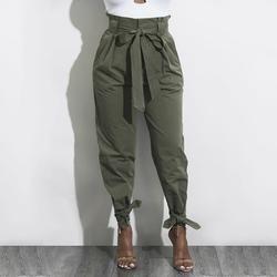 Taille haute Harem Pantalon Femmes Printemps Filandreuse Lisière Casual Solide À Long Pantalon Pour Bureau Femelle Pantalon Streetwear WS4769O