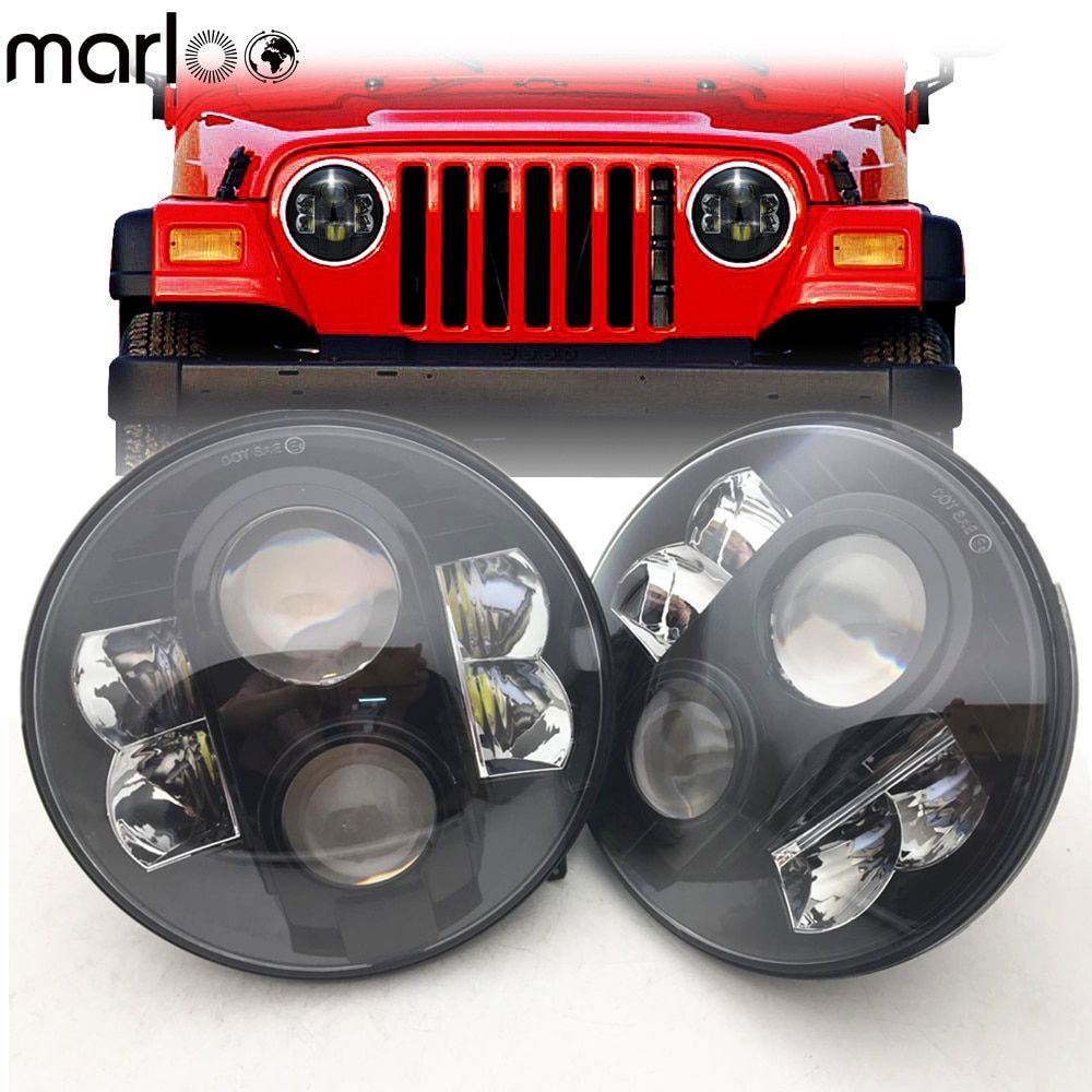 Marloo 2X7 Zoll 80 W H4 LED Scheinwerfer Für Wrangler 7 Runde Scheinwerfer Für Lada 4x4 städtischen Niva Land Rover 90/110 Defender