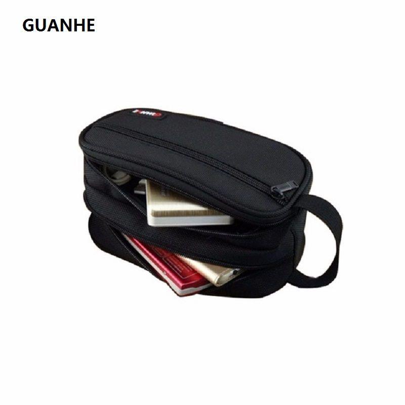 GUANHE Nylon accessoires organisateur Kit de toilettage emballage pochette Double couche électronique sac de transport noir pour disque dur