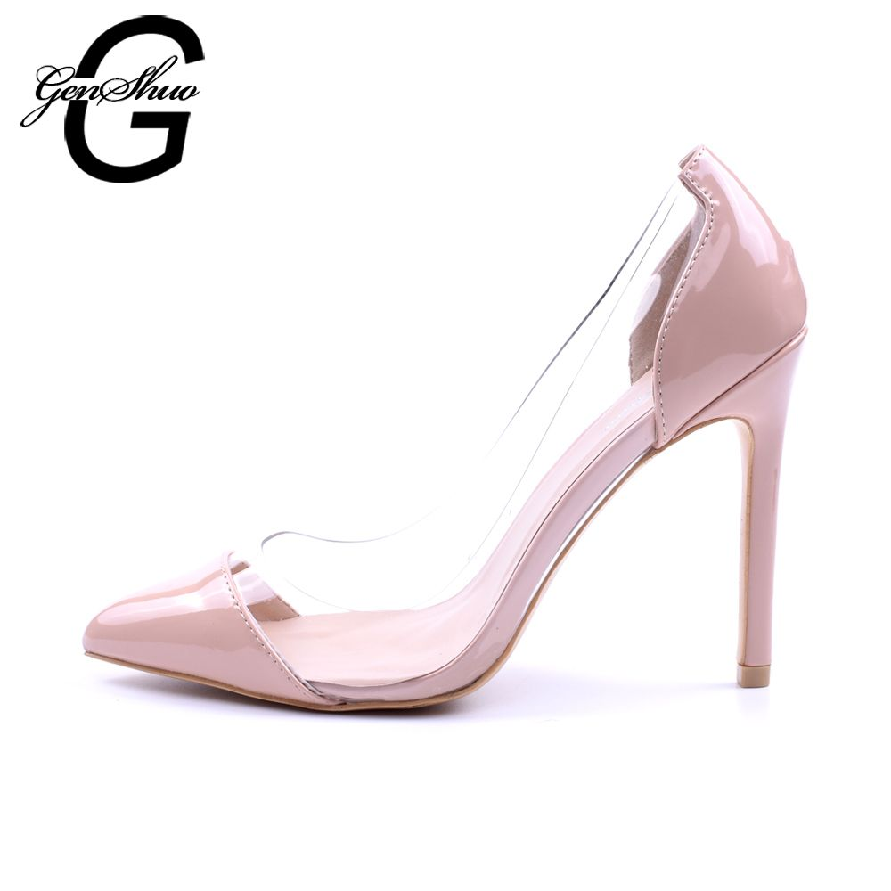 GENSHUO Women Pumps 2018 Transparent 11cm High Heels Sexy Pointed Toe Slip-on Wedding Party Shoes For Lady Size 41 42 <font><b>Leopard</b></font>