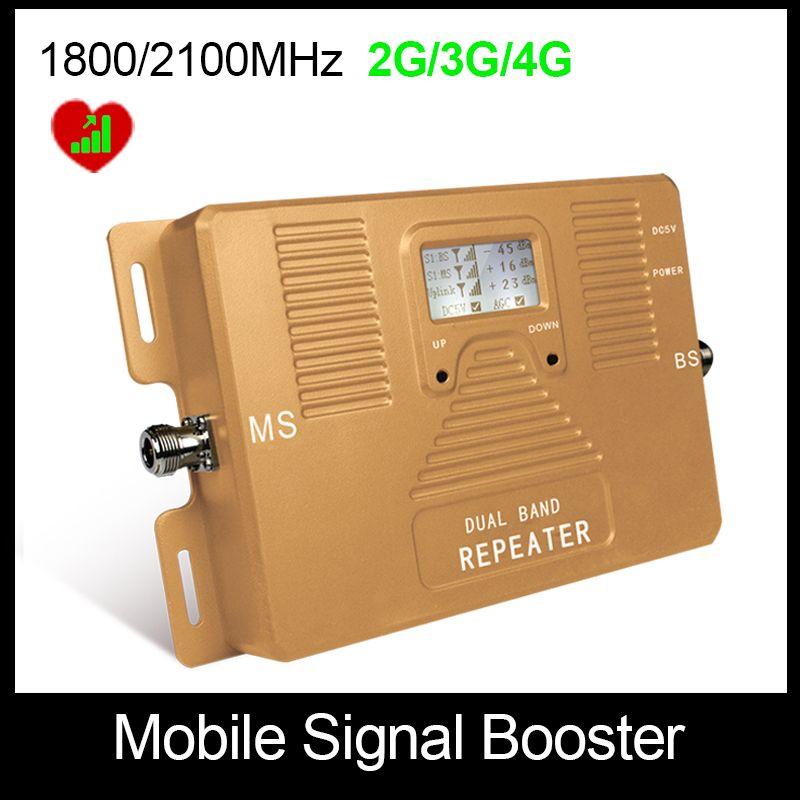 Hohe Qualität! Dual Bnad 2G + 3G + 4G 1800/2100 mhz Volle Smart mobile signal booster repeater handy signalverstärker Nur Booster!