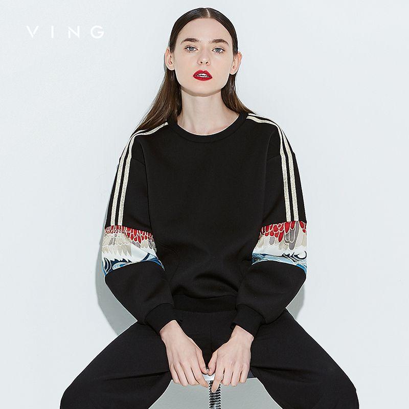 Винг осень 2017 г. новых печатных свободные свитера женские Лоскутная китайский Стиль с длинным рукавом