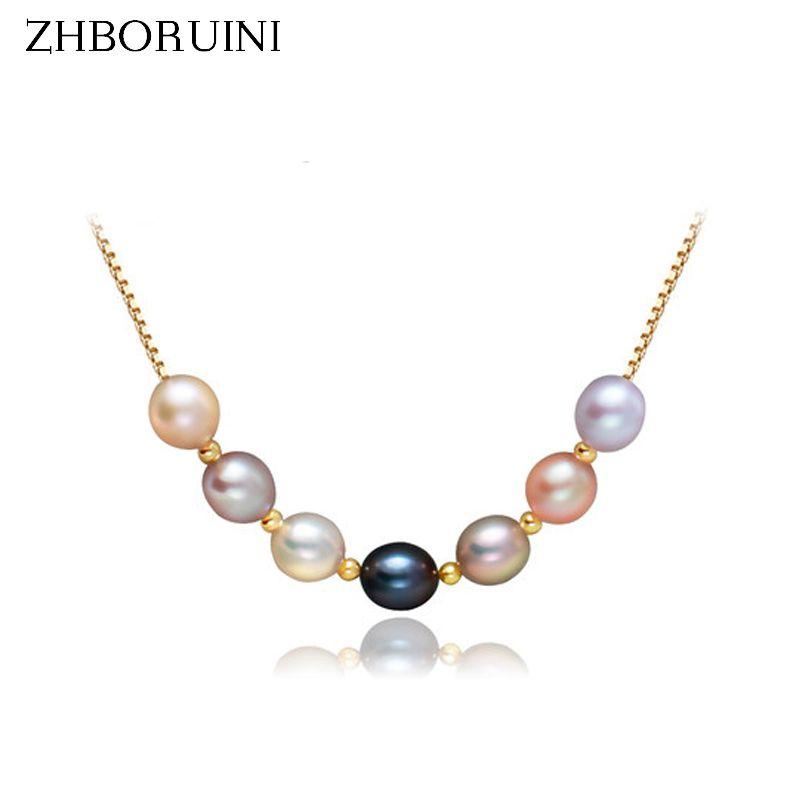 ZHBORUINI 2019 bijoux en perles d'eau douce naturelle perle multicolore collier pendentif 925 bijoux en argent Sterling pour les femmes