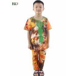 H & d En Gros Enfants enfants Vêtements Traditionnels Africains Imprimer Dashiki T-shirt Pour Garçons tops pantalon 2 pcs ensemble