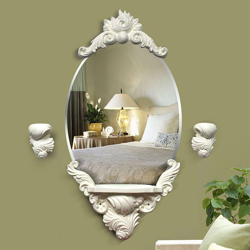 Бесплатная доставка Домашний Декор Европейский настенное зеркало с полкой для ванной или спальни элегантные ретро Мода белый/золото декор...