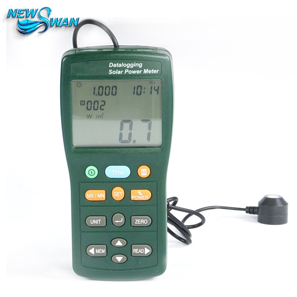 TES-132 Handheld Solar Power Meter Tester 400-1Knm Range 2000W/m2 & 634Btu/(ft2*h) Data Logger SD Card 2G USB