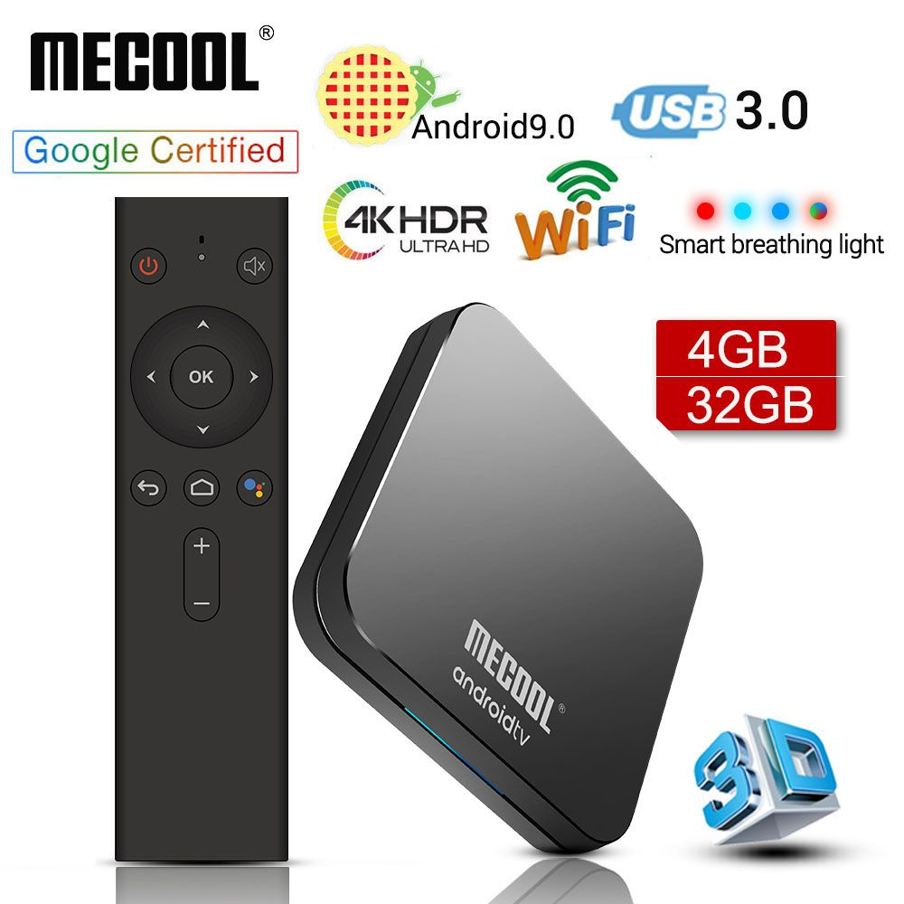 MECOOL KM9 PRO Android 9.0 TV Box Amlogic S905X2 4G DDR4 32G ROM 4K Google certifié Android 9 ATV Smart TV Box commande vocale
