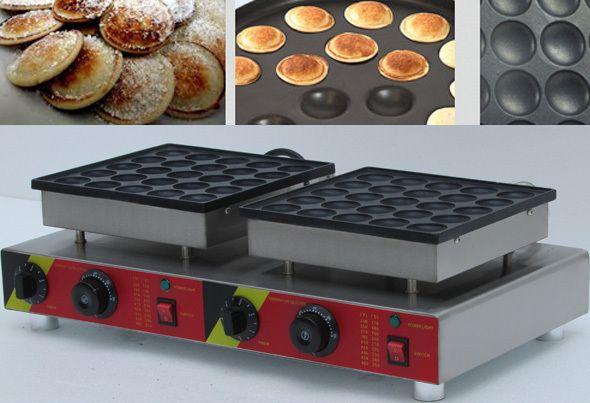50 pc en acier Inoxydable double tête Automatique Poffertjes Grill, électrique Néerlandais Mini Crêpes Poffertjes Machine Baker Maker