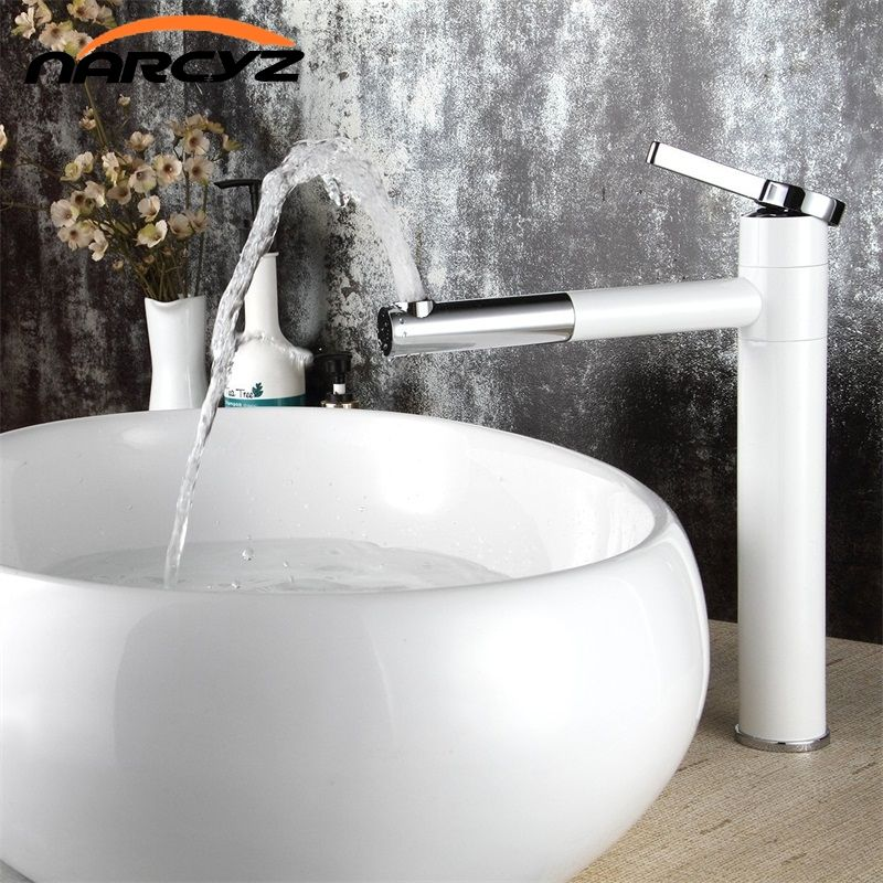 High Quality White Single-handle basin Waterfall Brass Faucets Bathroom Faucet Sink Basin Mixer Tap LT-701B
