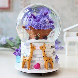 Zm Lavender Beruang berputar kotak musik salju bola kristal untuk mengirim pacar ide hadiah ulang tahun