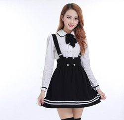 Японская школьная униформа для девочек студентов класса Милая одежда Большие размеры темно-синяя юбка с лямками + белая рубашка + чулки 3 шт./...