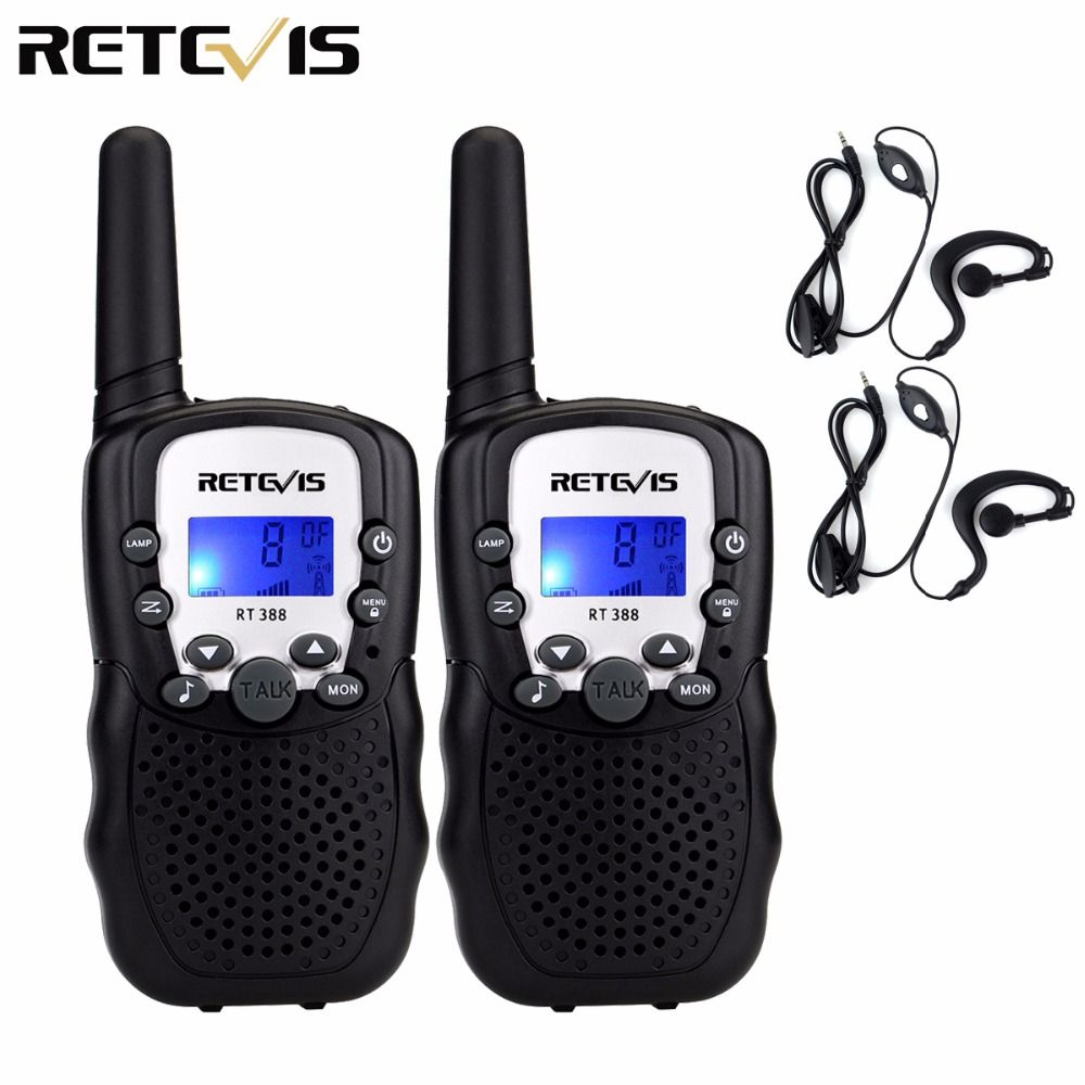 2pcs Mini Walkie Talkie Kids Radio Retevis RT-388 RT388 0.5W UHF462-467MHz US Frequency Portable Radio+2pcs Earpiece A7027