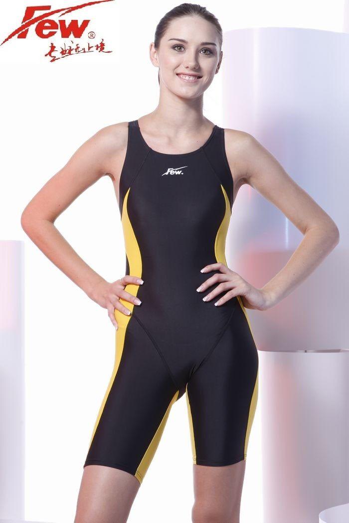 Quelques Fina approuvé une pièce compétition genou longueur résistant au chlore femmes maillots de bain professionnel gril maillot de bain de course
