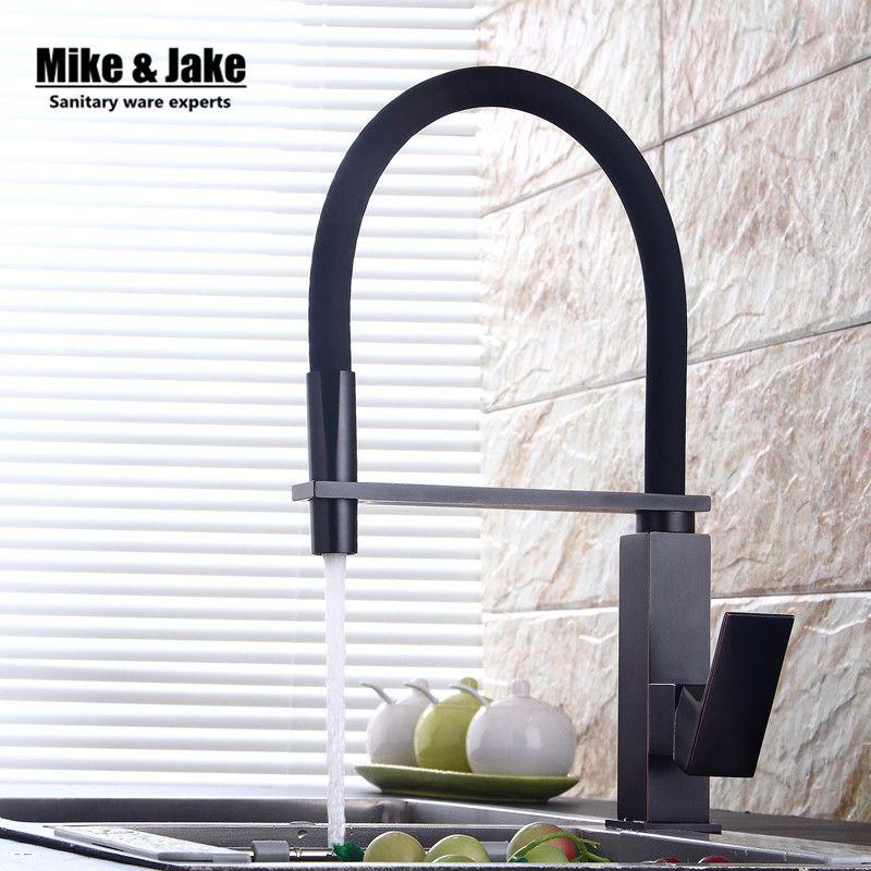 Новый черный тянуть вниз смеситель для кухни квадратный латунь смеситель для кухни раковина смеситель для кухни Pull Out кухонный кран mj5556