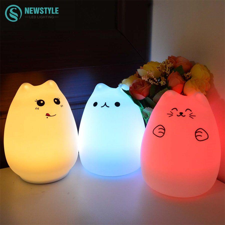 Красочные Кошка Силиконовые свет в ночь Перезаряжаемые touch Сенсор свет 2 режима дети милые ночника Спальня свет