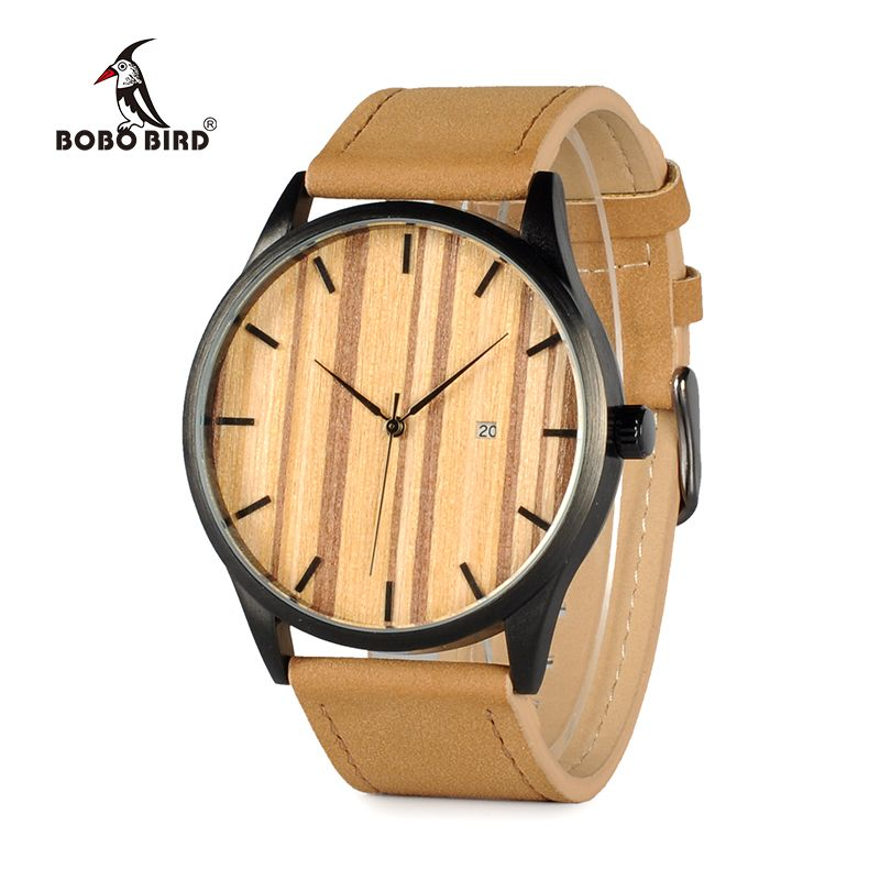 BOBO BIRD WG16 Simple Top Brand Luxury Metal Quartz Wrist Mens Watch Calendar Display Wood Dial Face Watches Accept OEM Relogio