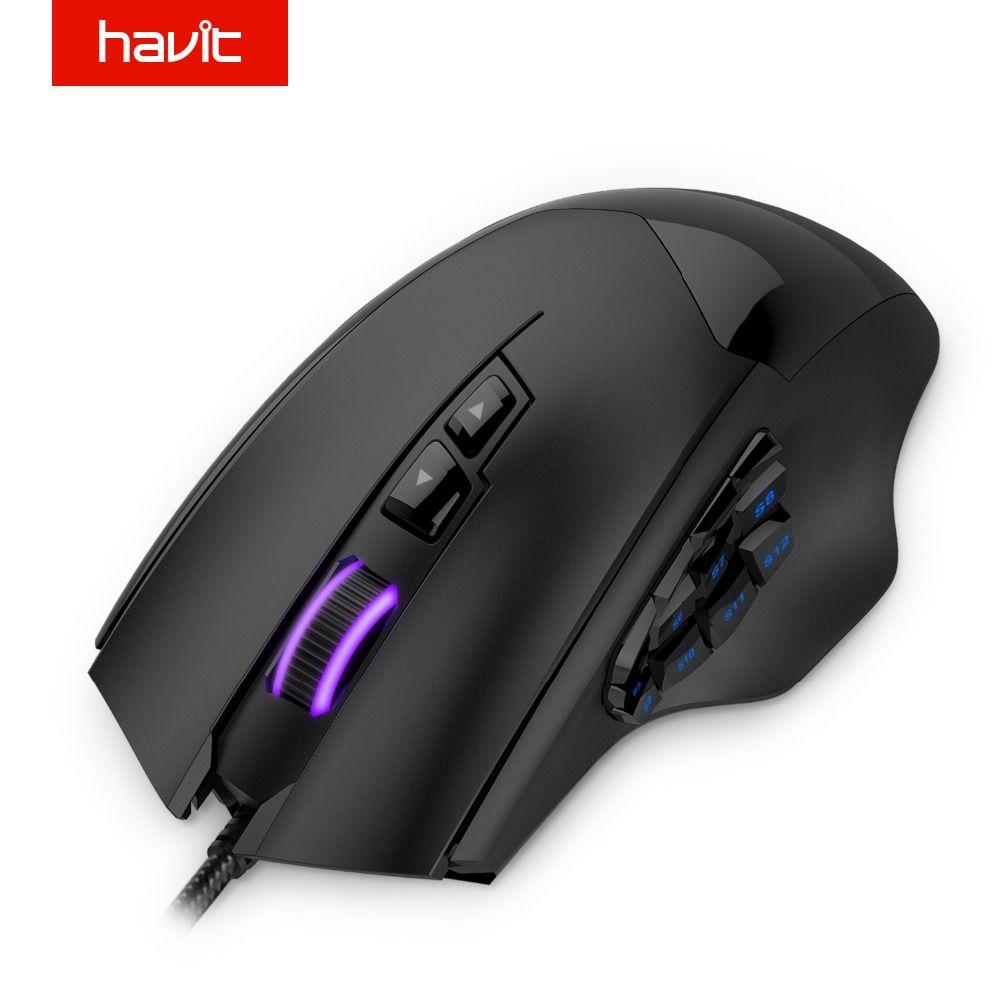 HAVIT 12000 DPI 19 Buttons Programmable Mouse Optical Sensor Pixart PMW 3360 Optical MMO Gaming Mouse HV-MS735