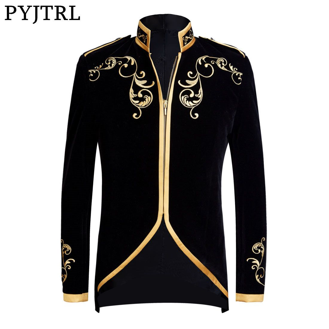 PYJTRL British Style Palace Prince Fashion Black Velvet Gold Embroidery Blazer Wedding Groom Slim Fit Suit Jacket Singers Coat