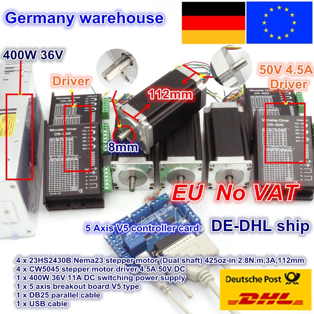 DE ship/free VAT 4 axis NEMA23 425 oz-in Dual shaft stepper motor CNC controller kit&256 microstep motor driver for CNC Router