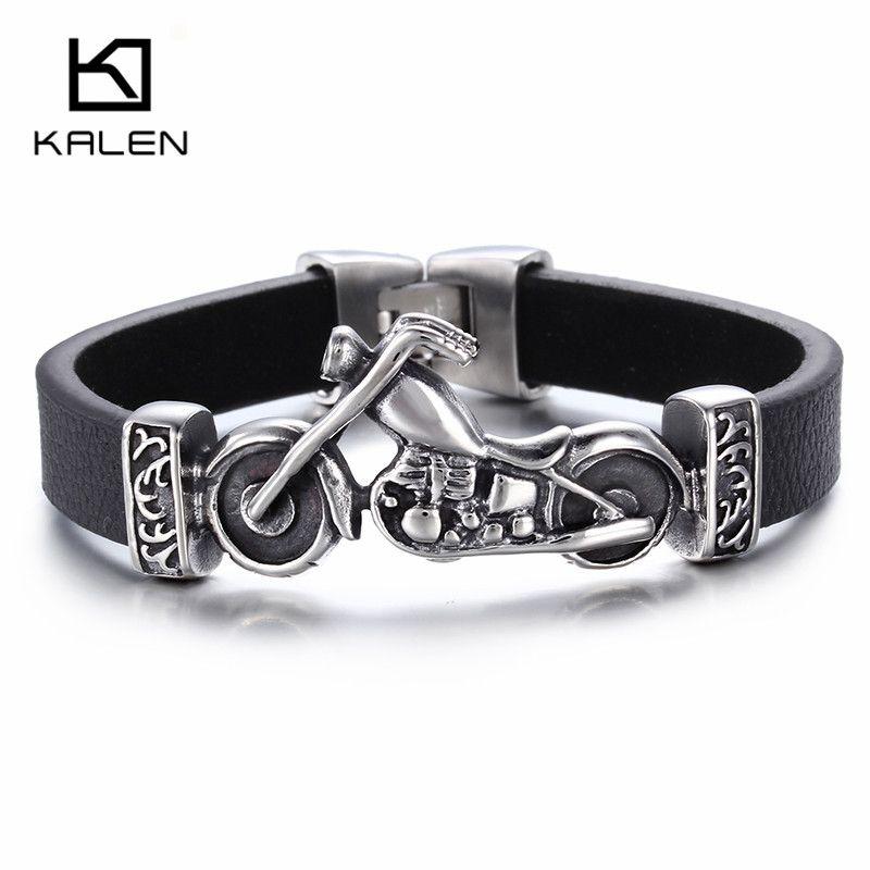 Kalen Nouveau Unique Mâle Bijoux En Acier Inoxydable Moto Charme Bracelet Rock Punk Durable En Cuir Bracelets Pas Cher Cadeau Frais