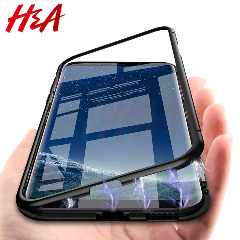 H&A 360 Magnetic Adsorption Phone Case for For Samsung Galaxy S9 S8 Plus S7 Edge Tempered Glass Back Magnet Cover Note 9 8 Case
