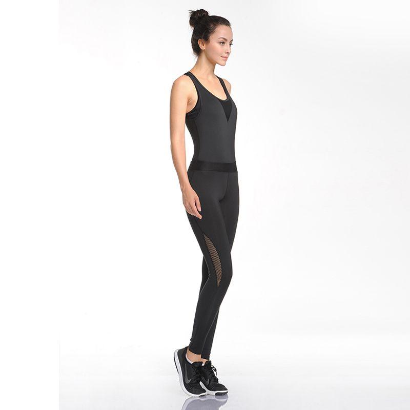 U femmes vêtements de sport de yoga combinaison dames Fitness sous-vêtements d'entraînement respirant body pantalon pantalon noir une pièce