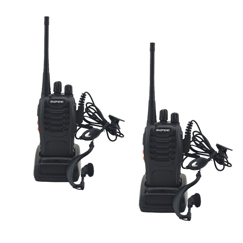 2pcs/lot BF-888S baofeng walkie talkie 888s UHF 400-470MHz 16Channel Portable two way radio with earpiece bf888s transceiver