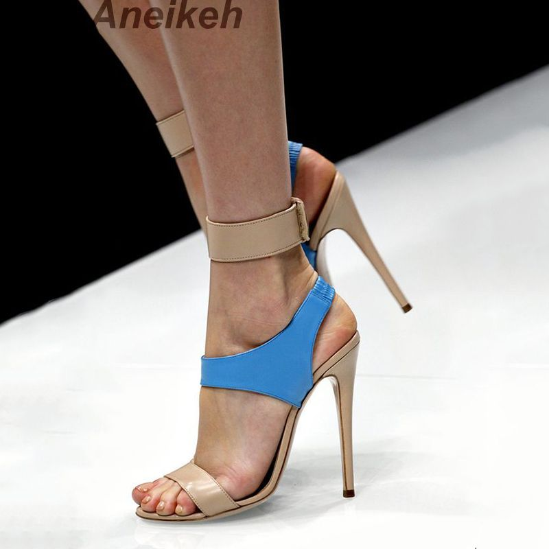 Aneikeh High Heels Sandals Women Summer Shoes Elastic band Open Toe Gladiator Wedding Party Dress Shoes Woman Sandals Apricot
