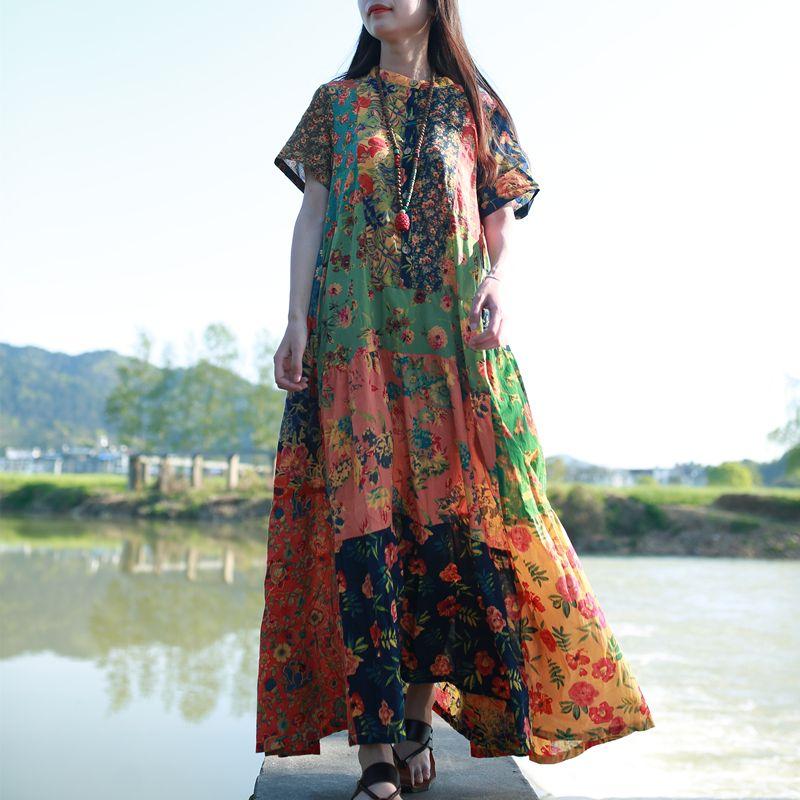 LZJN tendance 2019 été plage bohème Robe femmes à manches courtes ethnique coton Robe Femme Patchwork Boho Maxi longues robes de chemise