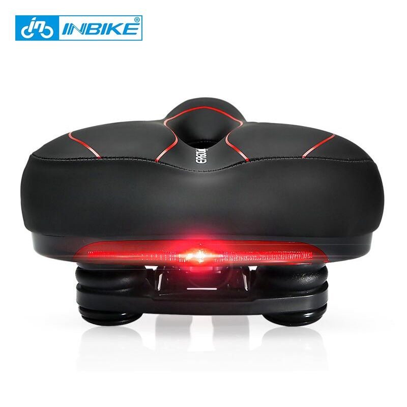 INBIKE Bicycle Saddle with Tail Light Widen MTB Cushion <font><b>Road</b></font> Bike Soft Comfortable Seat Spare Parts for Bicycles almofada selle