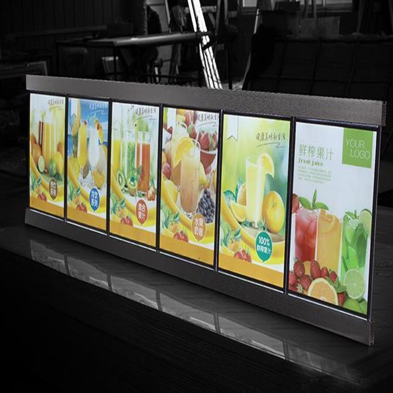 (6 Gráficos/columna) de Una Sola Cara LED Tableros de Menú Del Restaurante, Sistema de Menú Lightbox Delgado para el Hotel, restaurante, Cafetería Tienda