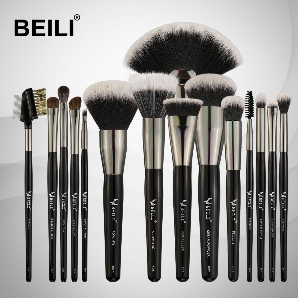 BEILI 15PCS Professional  Makeup Brushes Set Soft Natural bristles Blending Eyebrow Eyeliner Concealer Foundation