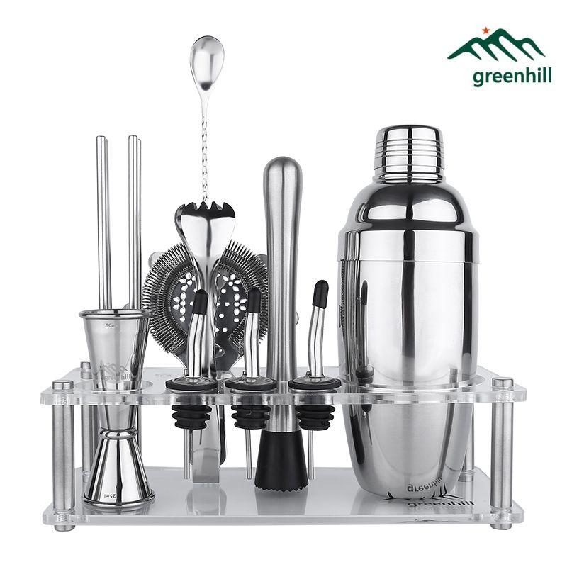 Greenhill Premium Bar Tool Set / 9 Pieces Barware Cocktail Shaker Kit (18/8), Muddler, Jigger, Spoon, Pourer, Ice tong & Stand
