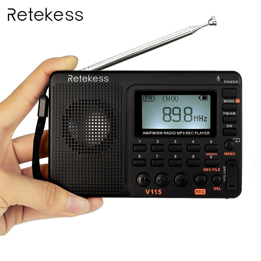 Retekess V115 FM/AM/SW Radio Receiver Bass Sound MP3 Player REC <font><b>Recorder</b></font> Portable Radio with Sleep Timer