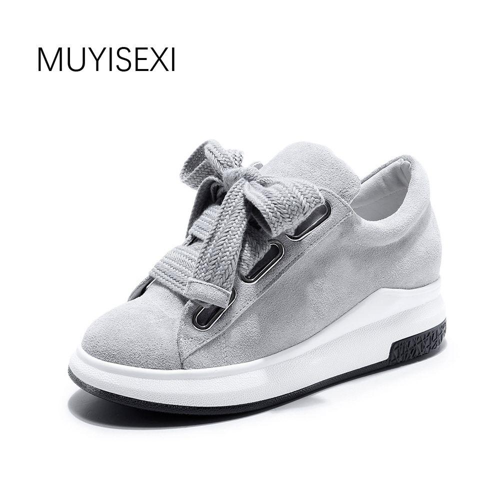 Véritable de femmes En Cuir Chaussures Plates Confort de Baskets sport Plate-Forme Lacent Mocassins En Daim Naturel Gris Noir 34-43 MUYISEXI XS02