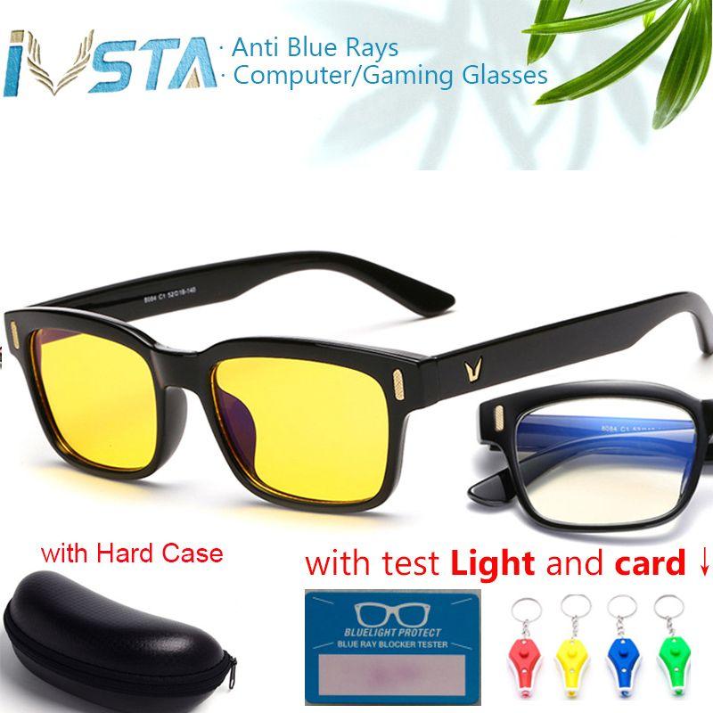 IVSTA avec étui carte de test lumière lunettes de jeu Anti rayons bleus ordinateur lunettes hommes Vision nocturne Prescription cadre optique