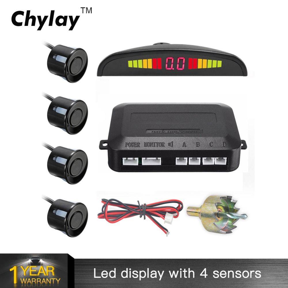 One Set Led Parking Sensor Auto Car <font><b>Detector</b></font> Parktronic Display Reverse Backup Radar Monitor System with 4 Sensors