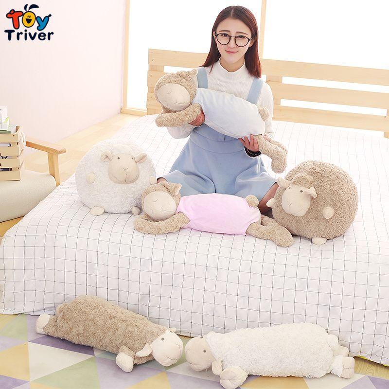 Peluche dormir mouton agneau poupées jouets en peluche poupée oreiller pour enfants enfants fille ami anniversaire noël cadeau sommeil apaiser jouet