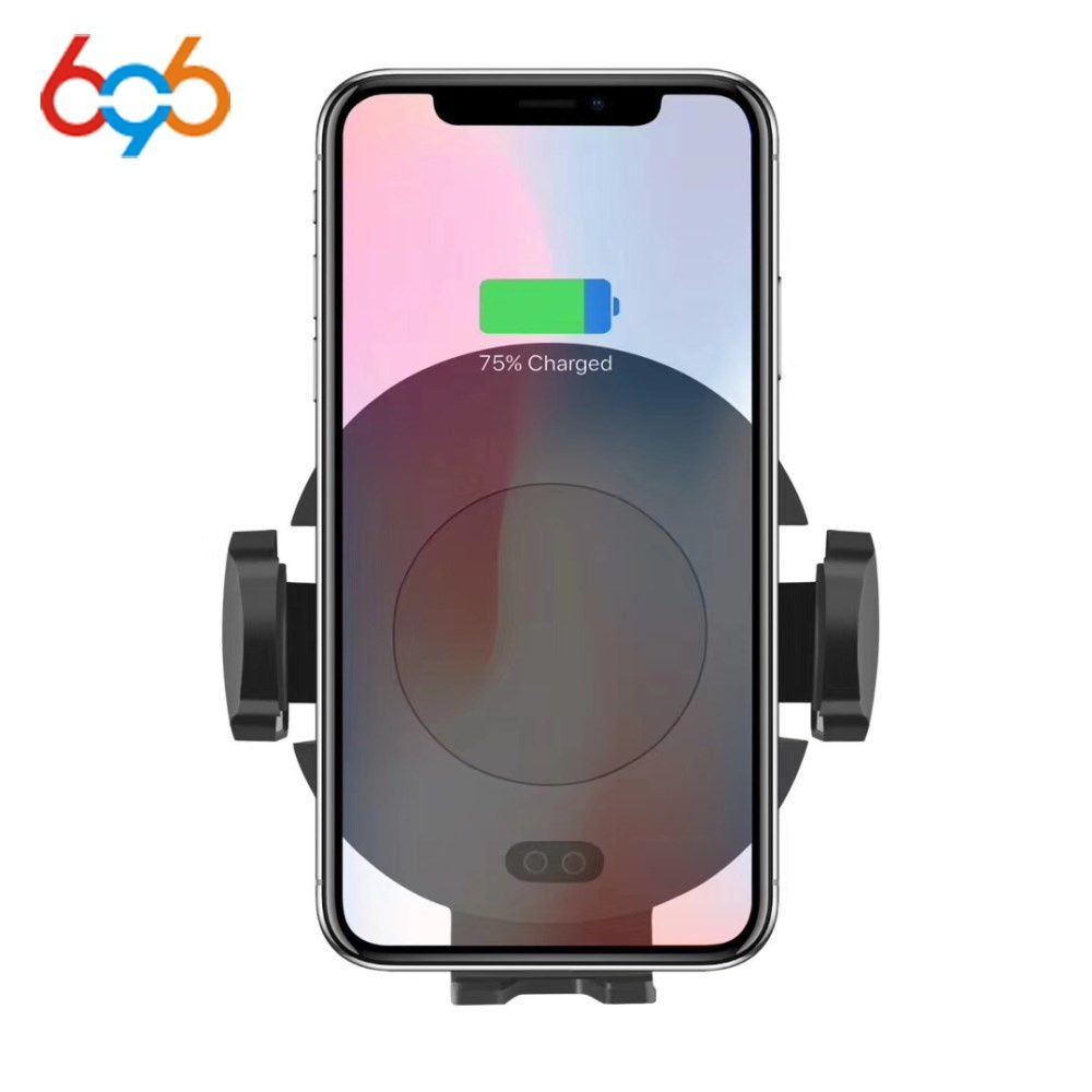 696 C11 Automatic Infrared Sensor Car Wireless Charger For iPhone X 8 Plus Car Air Vent Holder For Samsung S9 Double Induction