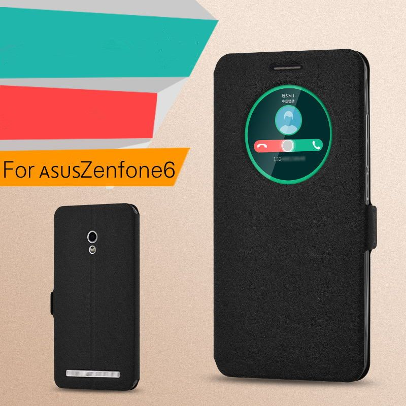 Free flip window cover for ASUS zenfone 6 case stand holder A600CG T00G leather zenfon 6 phone cases + gift screen protecive