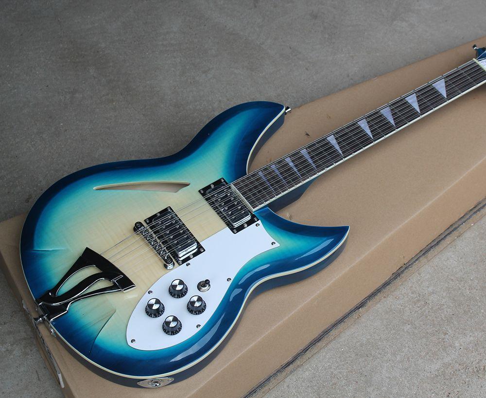 Factory Custom Semi-hohl Blau 12 Saiten E-gitarre mit Spezielle Saitenhalter, Chrome Hardware, Bieten Angepasst