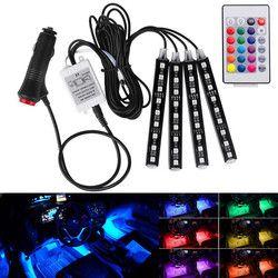 Беспроводной музыка Дистанционное управление автомобиля RGB LED Neon Интерьер свет лампы ленты декоративные фонари dxy