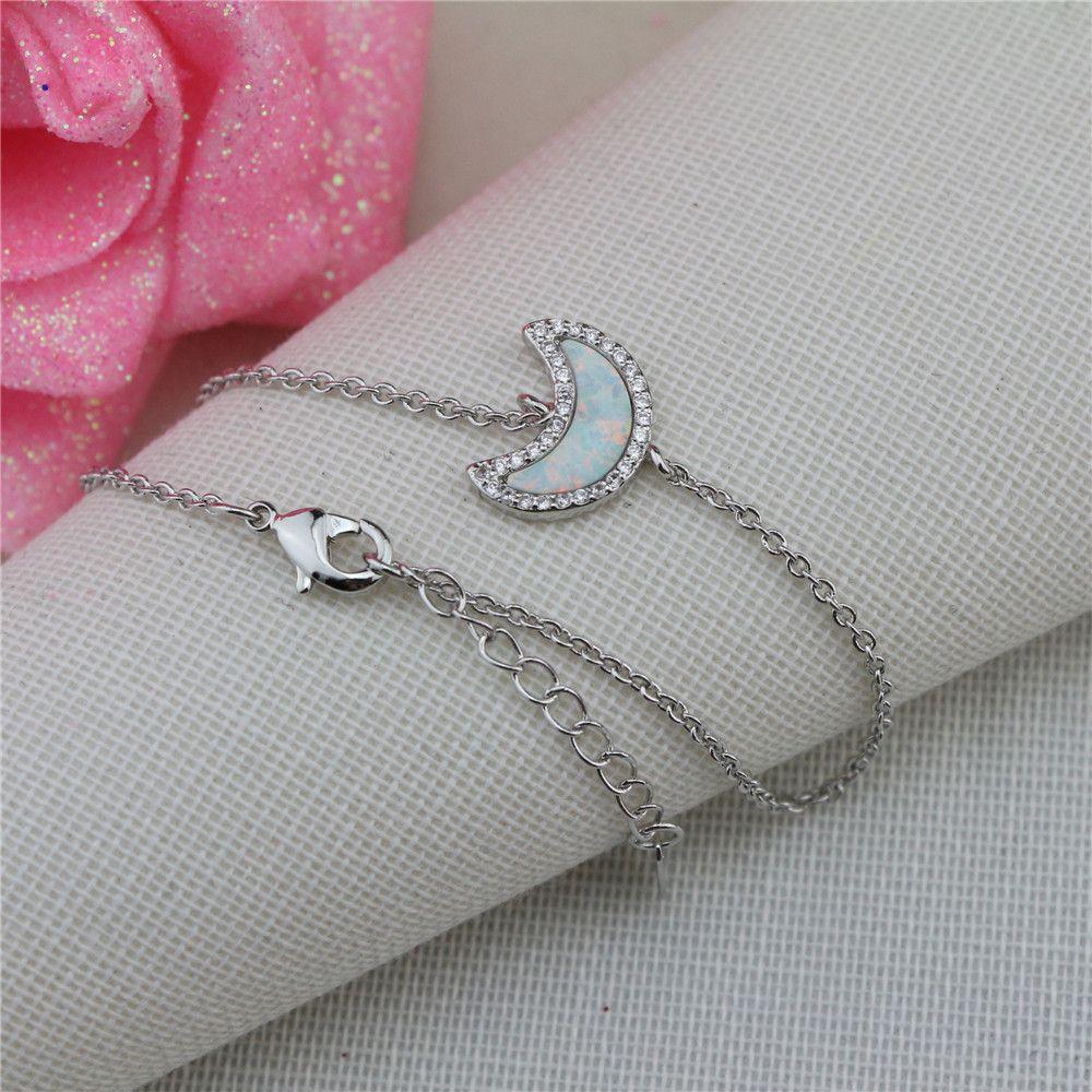 New Opal Silver Bracelet 925 Sterling Silver Mosaic Zircon Bracelet Moon Bracelet Individuality Charm Women's Bracelet