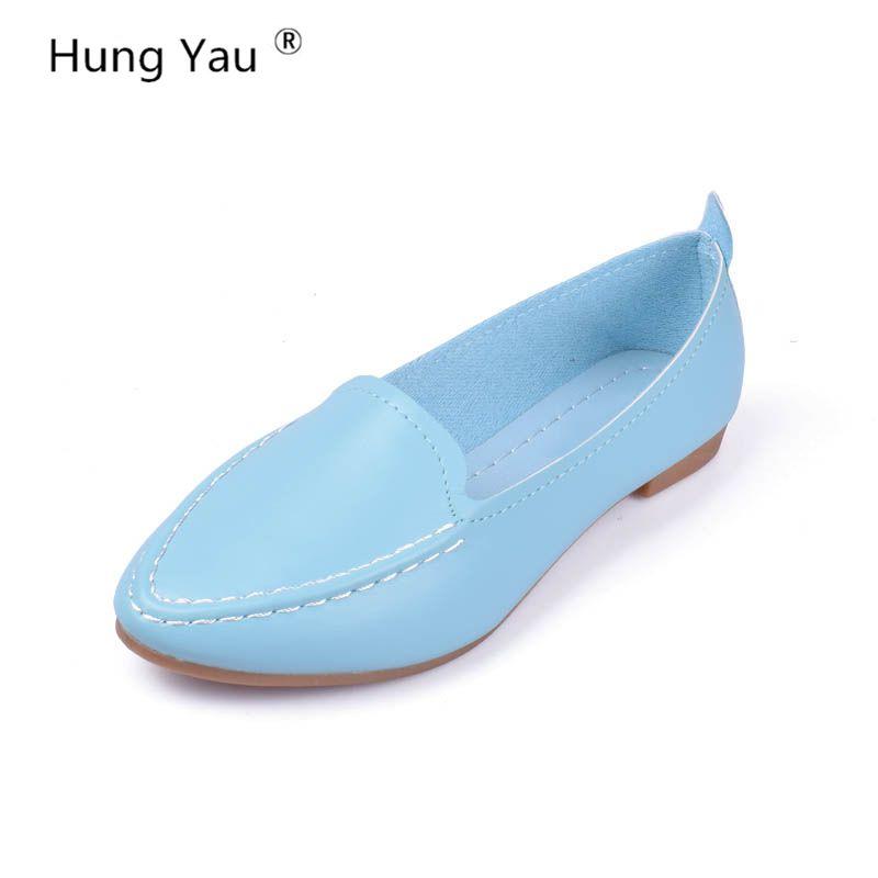 Femmes appartements 2017 nouveau Style décontracté solide bout pointu sans lacet chaussures plates doux confortable femmes chaussures grande taille 35-40