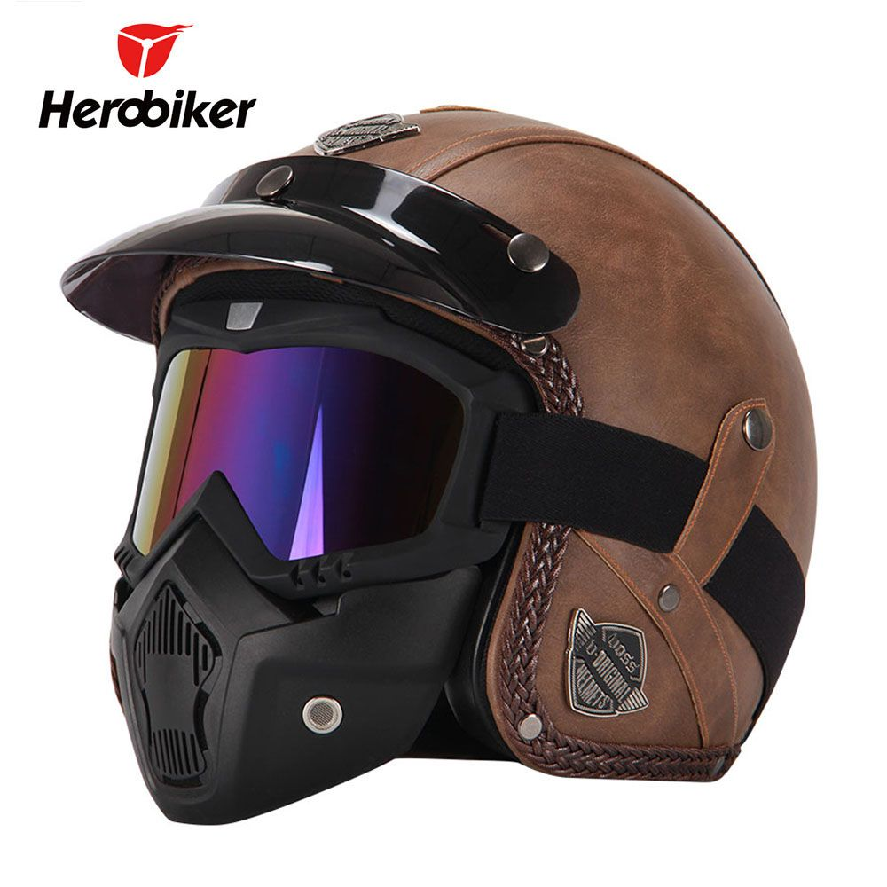 New Retro Vintage German Style Motorcycle Helmet 3/4 Open Face Helmet Scooter Chopper Cruiser Biker Moto Helmet <font><b>Glasses</b></font> Mask