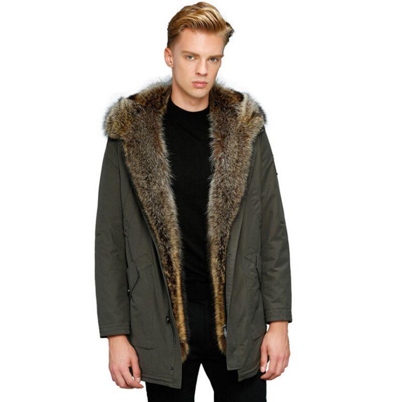 Wolf Pelz Mantel Männer Winter Warme Pelz Mantel Mit Kapuze Lange Stil Jacke Starke Echt Pelzmantel Natürliche Pelz Herren Winter thermische Oberbekleidung