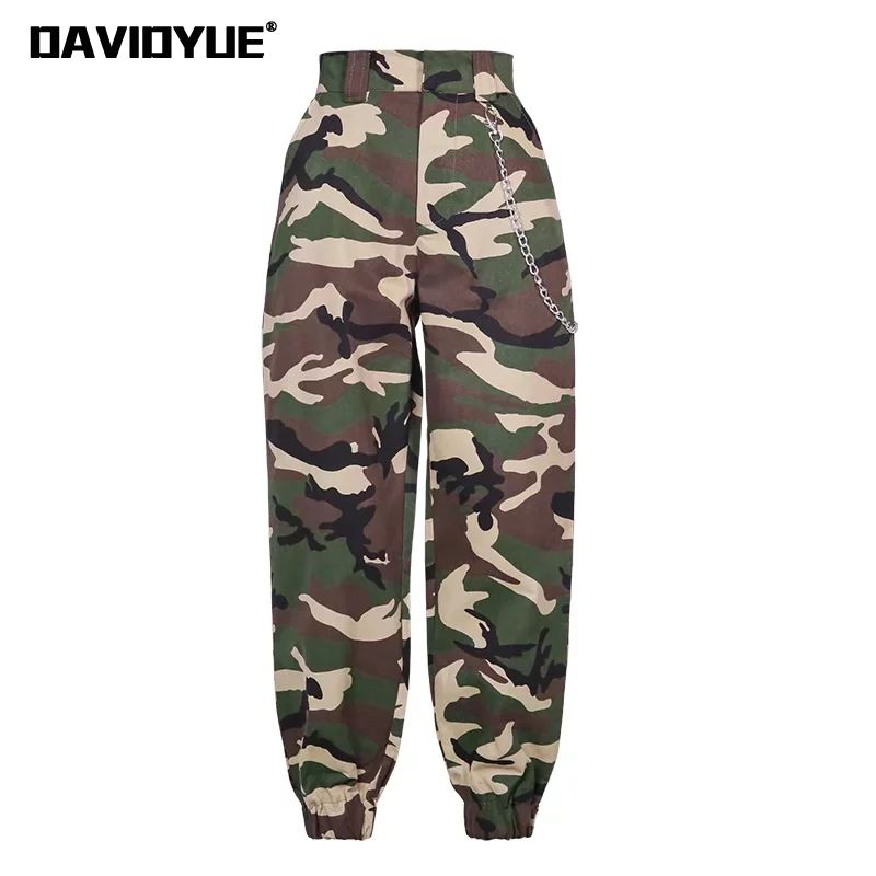 2018 Fashion Chain Military Camouflage pants women Army black high waist loose Camo Pants Trousers Street Jogger sweatpants