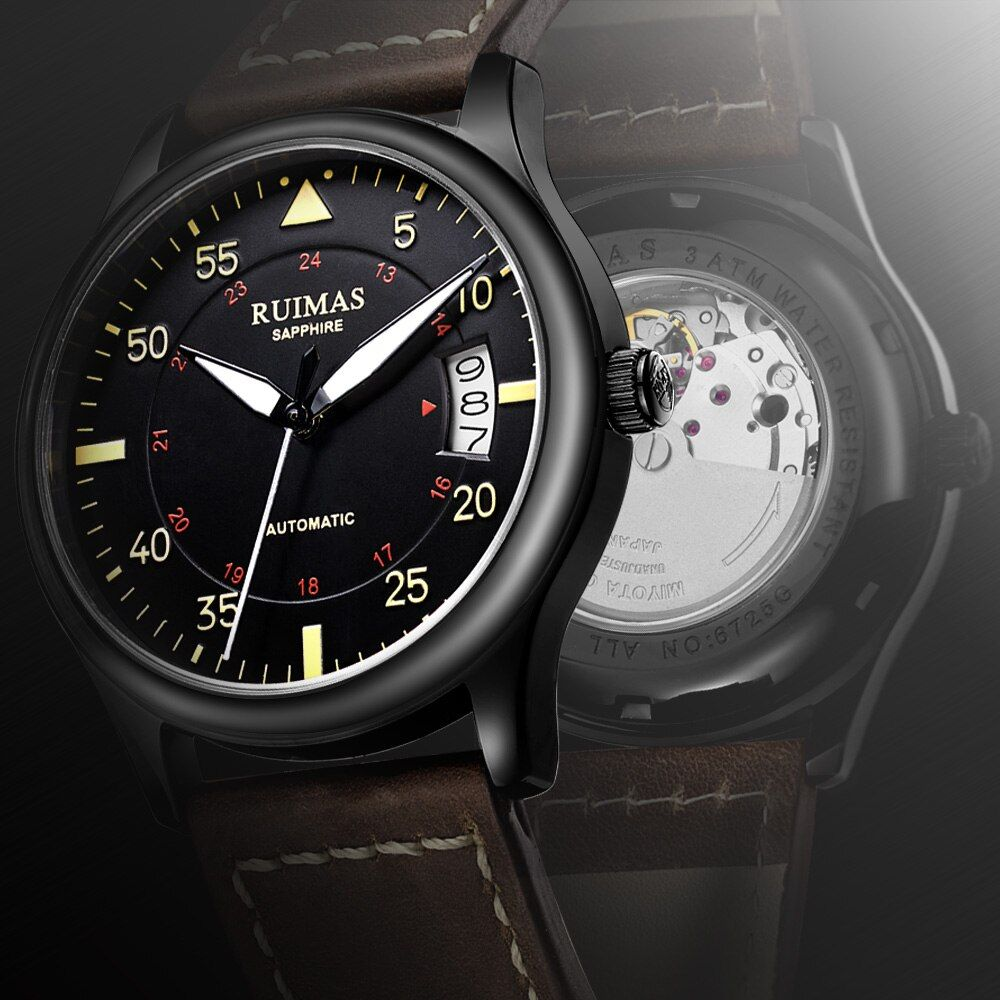 RUIMAS Men Fashion Leather Strap Watch Automatic Business Mechanical Watches Male Clock Wristwatches Erkek Kol Saati MIYOTA 8215